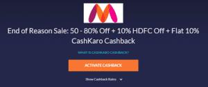myntra 10% Cashback Offer